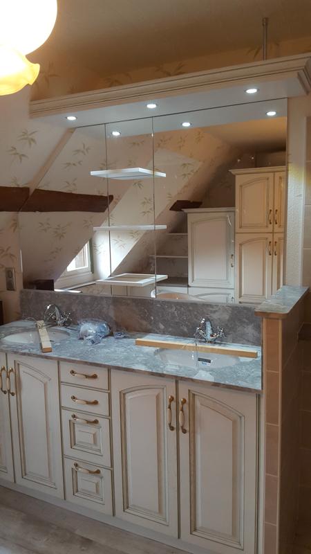 Fabrication et pose d'une salle de bain avec double vasque